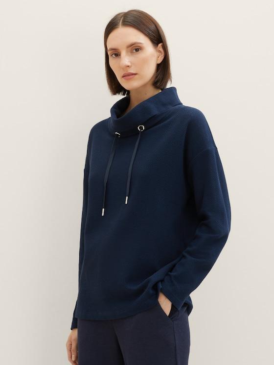 Sweatshirt met rolkraag en textuur - Vrouwen - Sky Captain Blue - 5 - TOM TAILOR