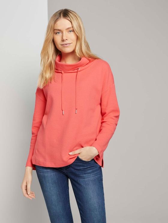 Sweatshirt met rolkraag en textuur - Vrouwen - strong peach tone - 5 - TOM TAILOR