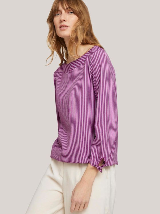 Gestreept shirt met mouwdetail - Vrouwen - lilac white thin stripe - 5 - TOM TAILOR