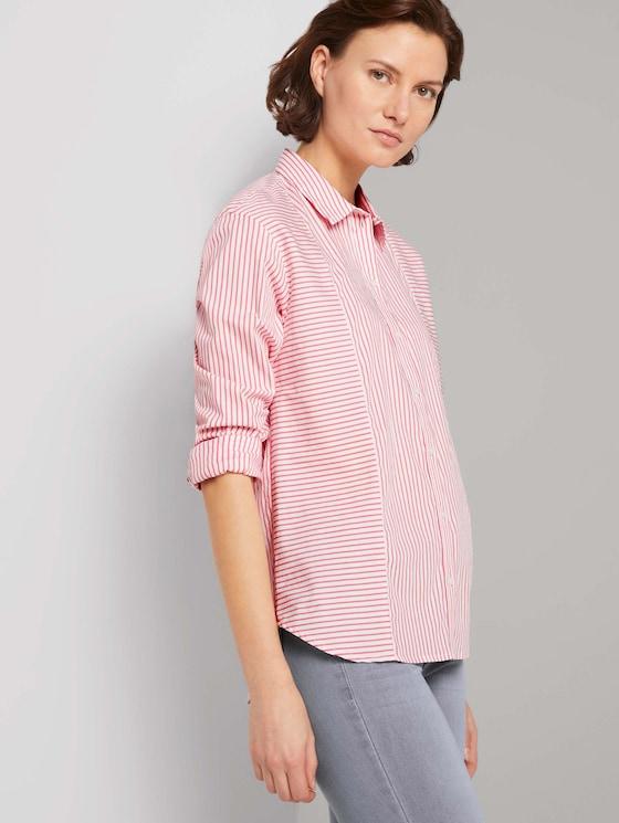 Gestreifte Hemdbluse - Frauen - offwhite peach stripe - 5 - TOM TAILOR