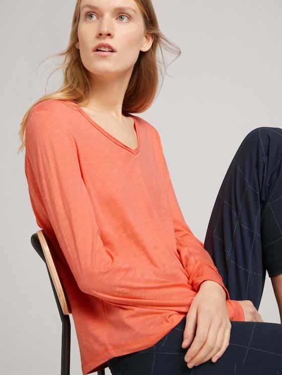 Langarmshirt mit V-Ausschnitt - Frauen - strong peach tone - 5 - TOM TAILOR