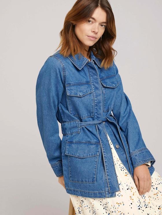 Jeans-Feldjacke mit Gürtel - Frauen - Used Mid Stone Blue Denim - 5 - TOM TAILOR Denim