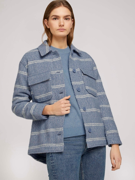 Hemdjacke in Boucle-Optik - Frauen - mid blue white stripe - 5 - TOM TAILOR Denim