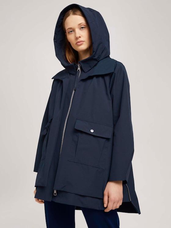 Functionele parka met hoodie met gerecycled polyester  - Vrouwen - Sky Captain Blue - 5 - TOM TAILOR Denim
