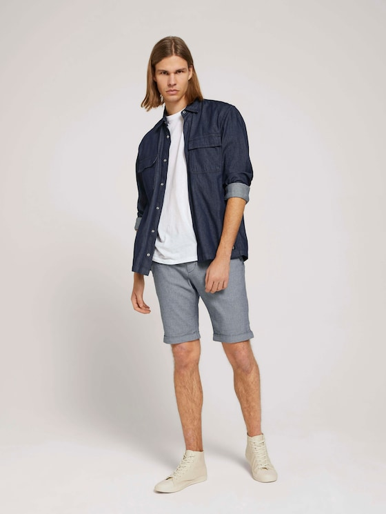 Chino Slim Shorts - Männer - navy white dobby yarn dye - 3 - TOM TAILOR Denim