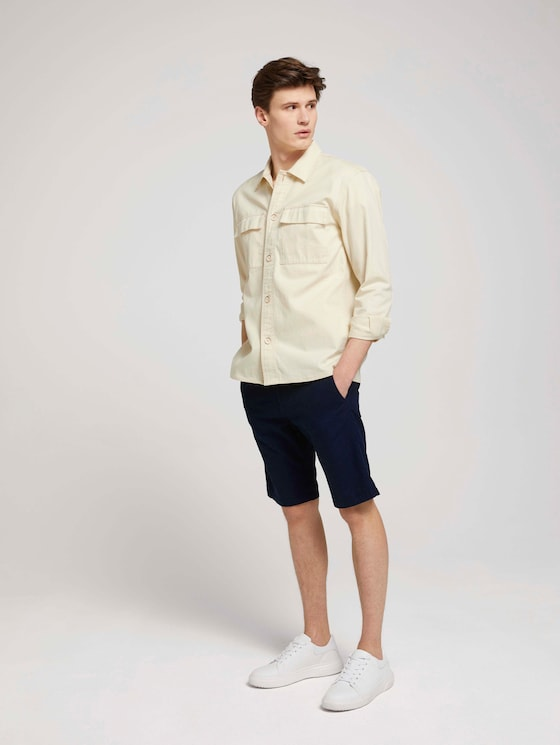 Leinen Chino Slim Shorts mit Leinen - Männer - Sky Captain Blue - 3 - TOM TAILOR Denim