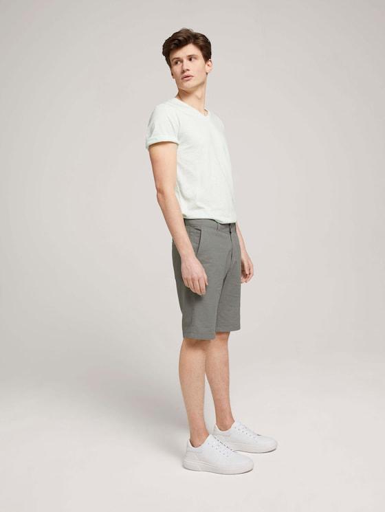 Leinen Chino Slim Shorts mit Leinen - Männer - Greyish Shadow Olive - 3 - TOM TAILOR Denim