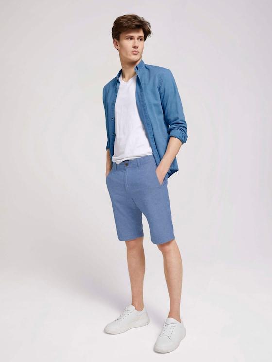 Leinen Chino Slim Shorts mit Leinen - Männer - blue non solid - 3 - TOM TAILOR Denim
