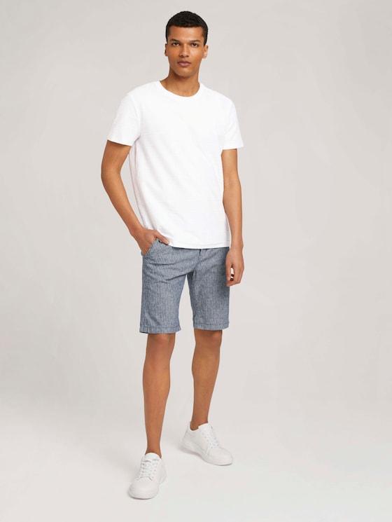 Leinen Chino Slim Shorts mit Leinen - Männer - navy white stripe - 3 - TOM TAILOR Denim