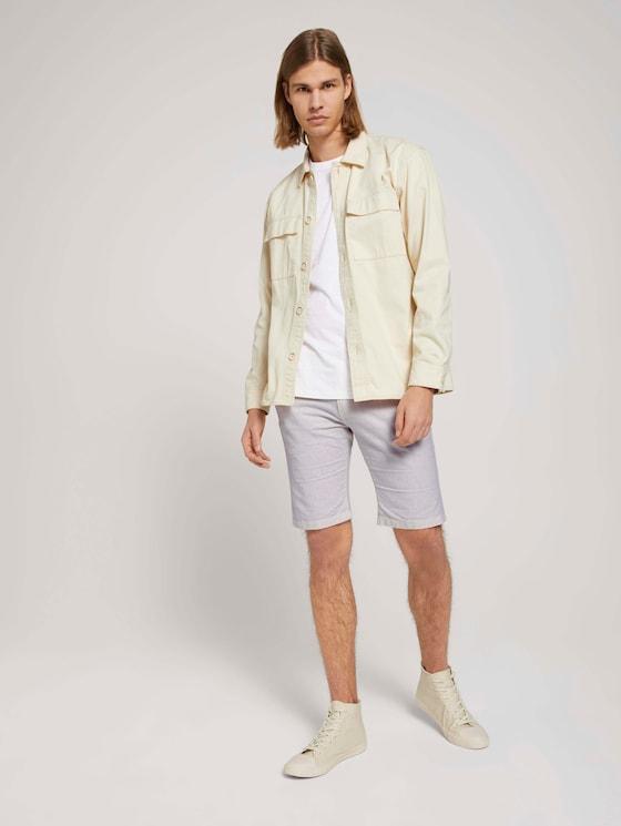 Leinen Chino Slim Shorts mit Leinen - Männer - beige white - 3 - TOM TAILOR Denim