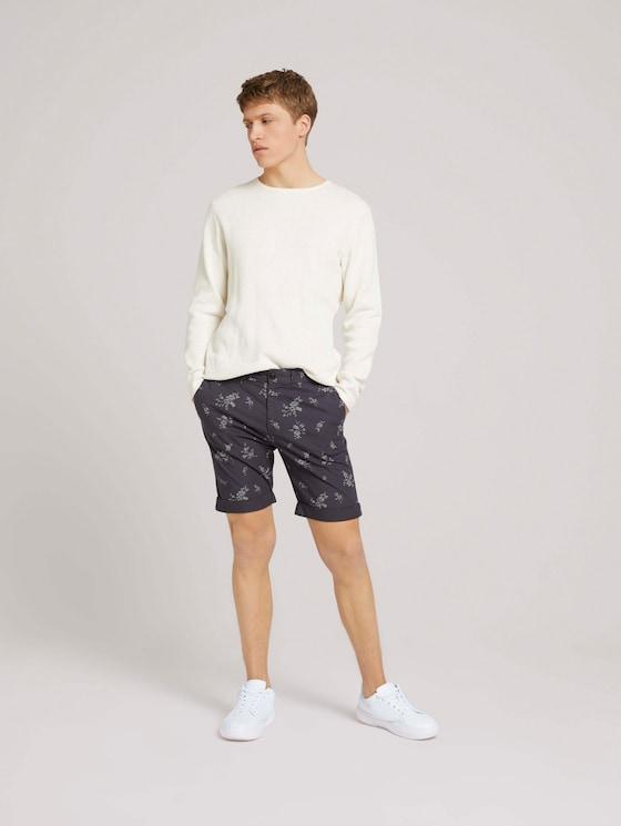Chino Slim Shorts - Männer - navy shredded flower print - 3 - TOM TAILOR Denim