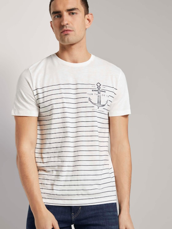 Maritimes T-Shirt mit Streifen - Männer - Off White - 5 - TOM TAILOR