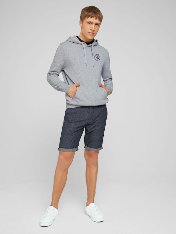 Chino Shorts mit feiner Struktur - Männer - navy white minimal - 3 - TOM TAILOR Denim
