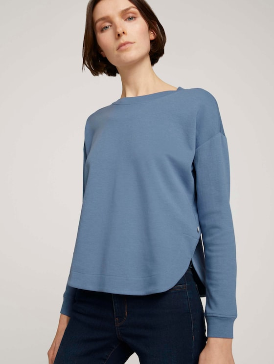 Loose Fit Sweatshirt - Frauen - soft mid blue - 5 - TOM TAILOR Denim