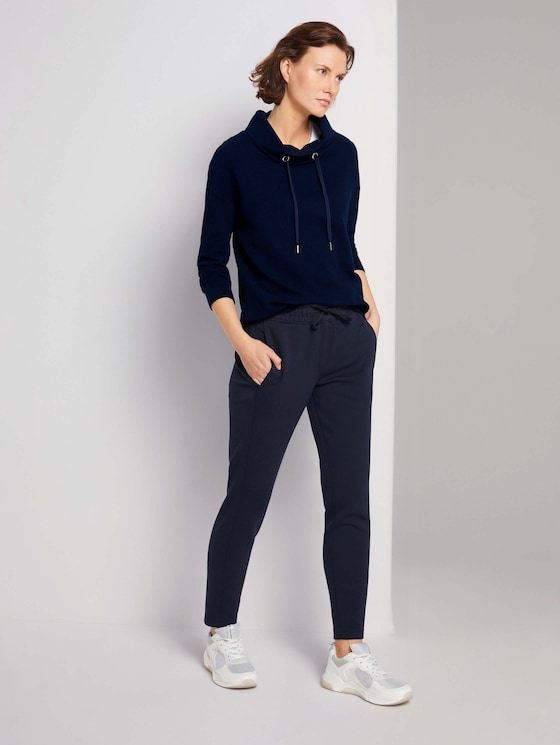Loose Fit Hose mit Tunnelzug - Frauen - Sky Captain Blue - 3 - TOM TAILOR