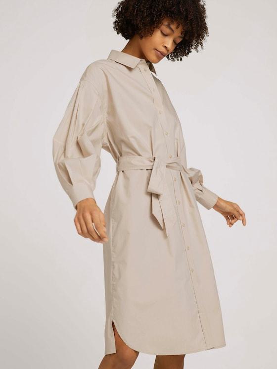 Hemdkleid mit Falten - Frauen - linen beige - 5 - Mine to five