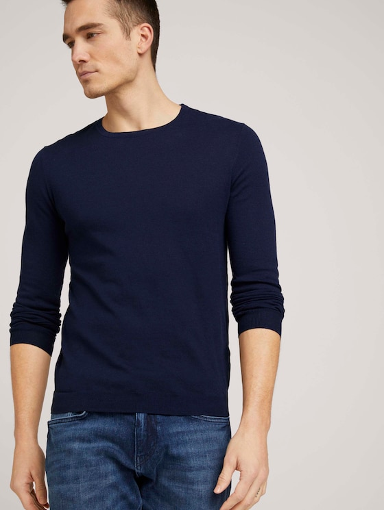 Basic Pullover - Männer - Dark Blue - 5 - TOM TAILOR