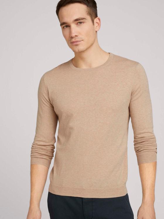 Basic Pullover - Männer - sahara dust beige melange - 5 - TOM TAILOR