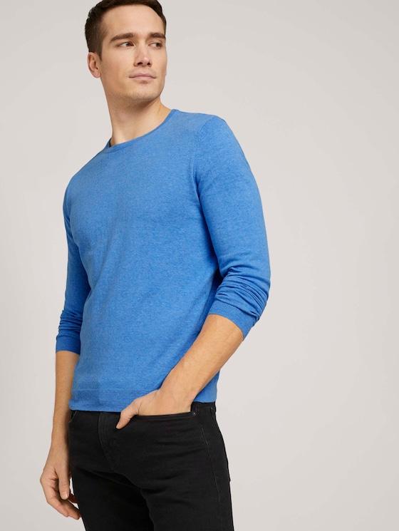 Basic Pullover - Männer - bright ibiza blue - 5 - TOM TAILOR