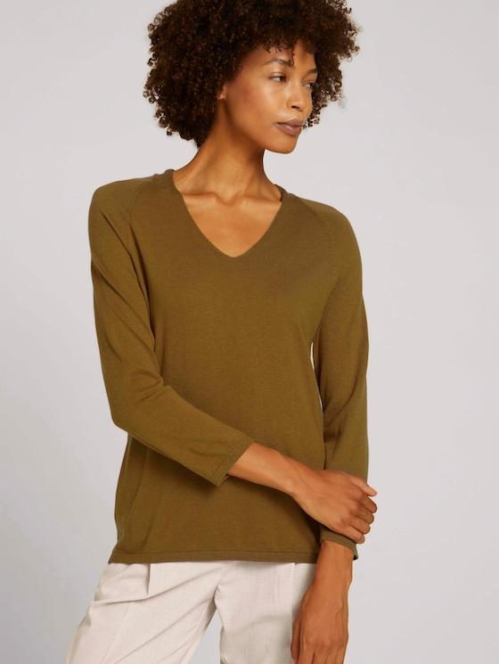 Pullover mit Bio-Baumwolle und V-Ausschnitt - Frauen - green clay - 5 - Mine to five