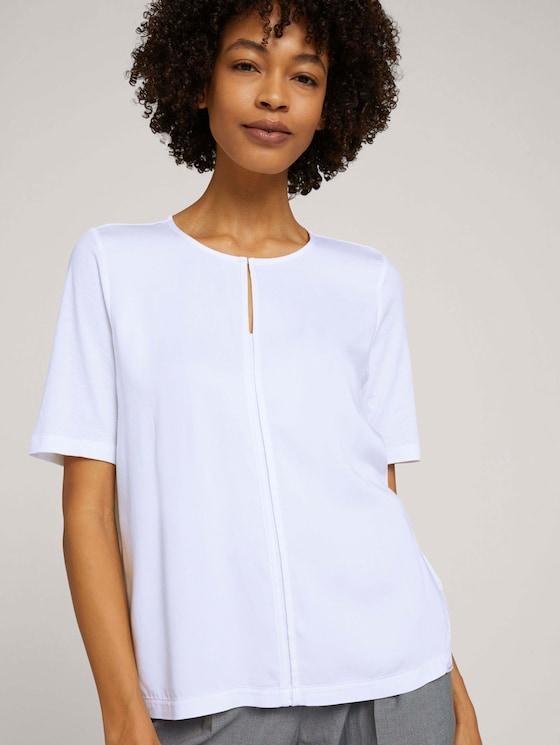 T-Shirt mit Stoff-Mix - Frauen - White - 5 - Mine to five