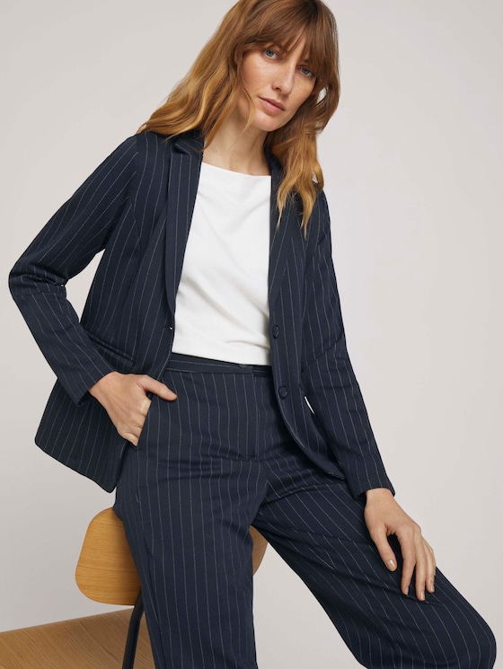 gestreifter Blazer - Frauen - navy pin stripe - 5 - TOM TAILOR