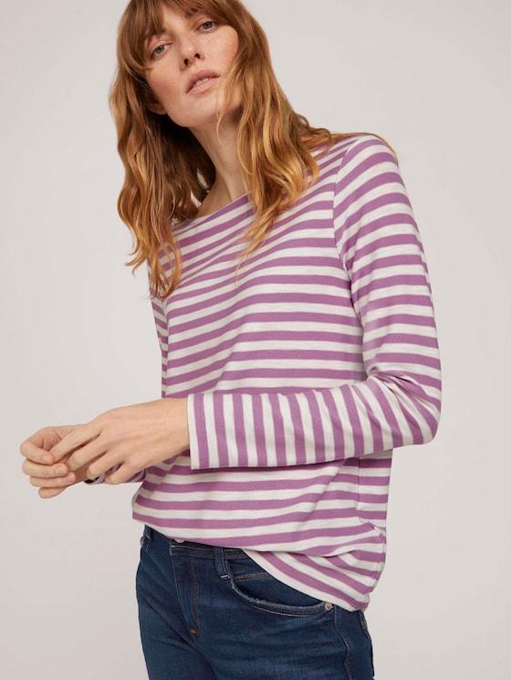 gestreiftes Langarmshirt - Frauen - lilac offwhite stripe - 5 - TOM TAILOR