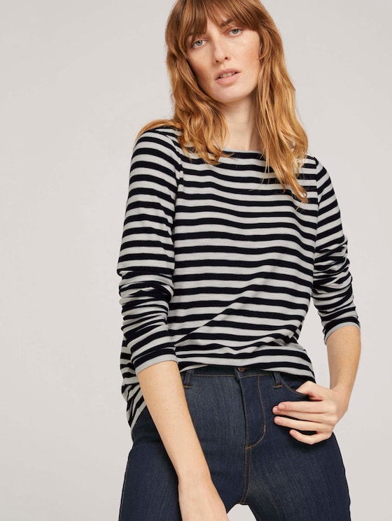 gestreiftes Langarmshirt - Frauen - navy offwhite stripe - 5 - TOM TAILOR