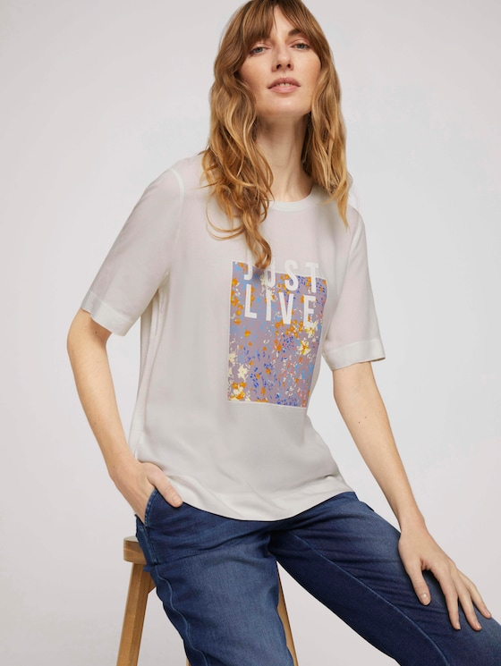 Loose Fit T-Shirt mit Stoffmix - Frauen - Whisper White - 5 - TOM TAILOR