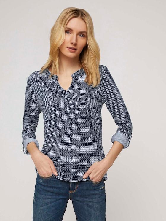 gemusterte Bluse mit Henleyausschnitt - Frauen - navy geometrical design - 5 - TOM TAILOR