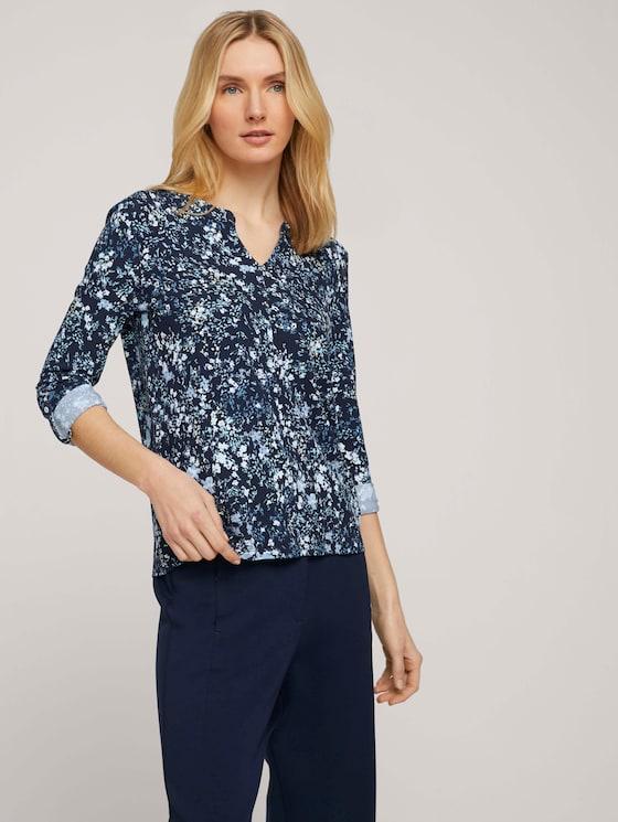 gemusterte Bluse mit Henleyausschnitt - Frauen - navy yellow flower design - 5 - TOM TAILOR