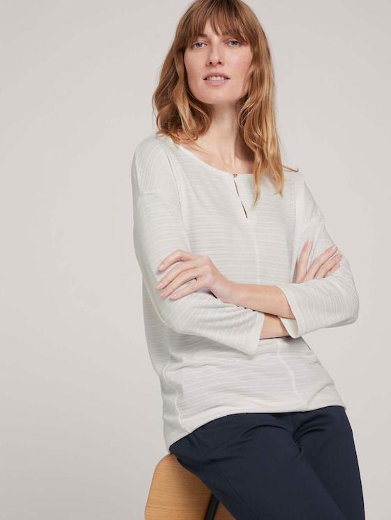 gestreiftes T-Shirt mit elastischem Saum - Frauen - Whisper White - 5 - TOM TAILOR
