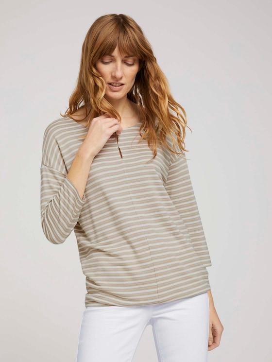 gestreiftes T-Shirt mit elastischem Saum - Frauen - beige thin stripe - 5 - TOM TAILOR