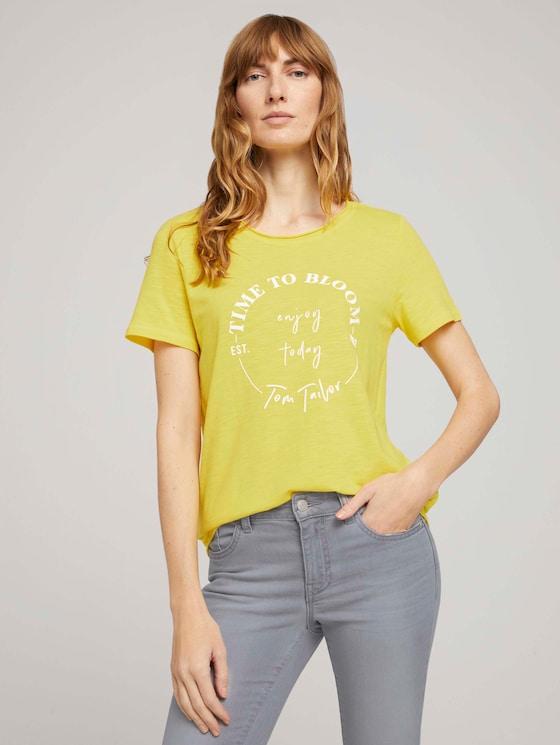 T-Shirt mit Bio-Baumwolle  - Frauen - smooth yellow - 5 - TOM TAILOR