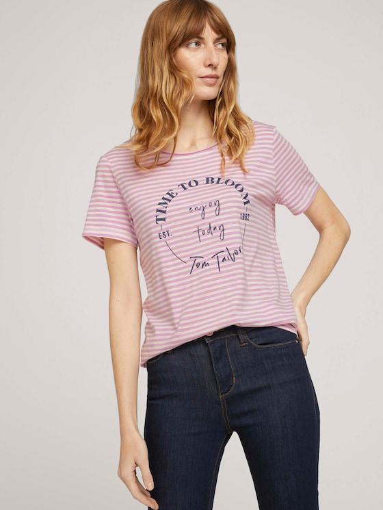 T-Shirt mit Bio-Baumwolle  - Frauen - offwhite lilac bigger stripe - 5 - TOM TAILOR