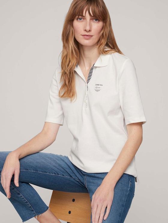 Poloshirt met print en zijsplitje met biologisch katoen  - Vrouwen - Whisper White - 5 - TOM TAILOR