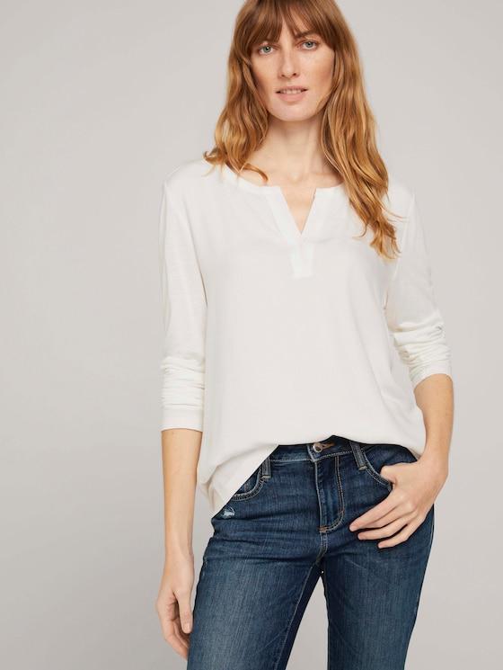Langarmshirt mit Henleyausschnitt - Frauen - Whisper White - 5 - TOM TAILOR