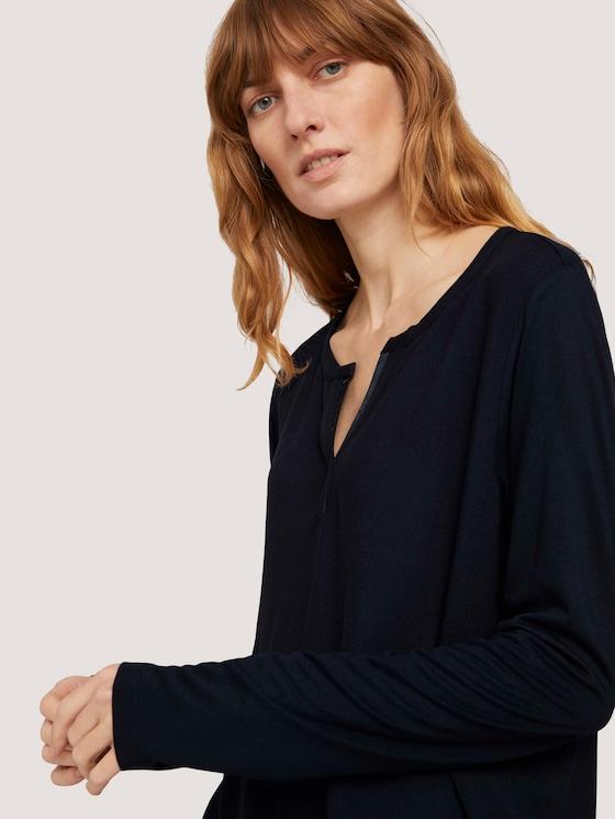 Langarmshirt mit Henleyausschnitt - Frauen - Sky Captain Blue - 9 - TOM TAILOR
