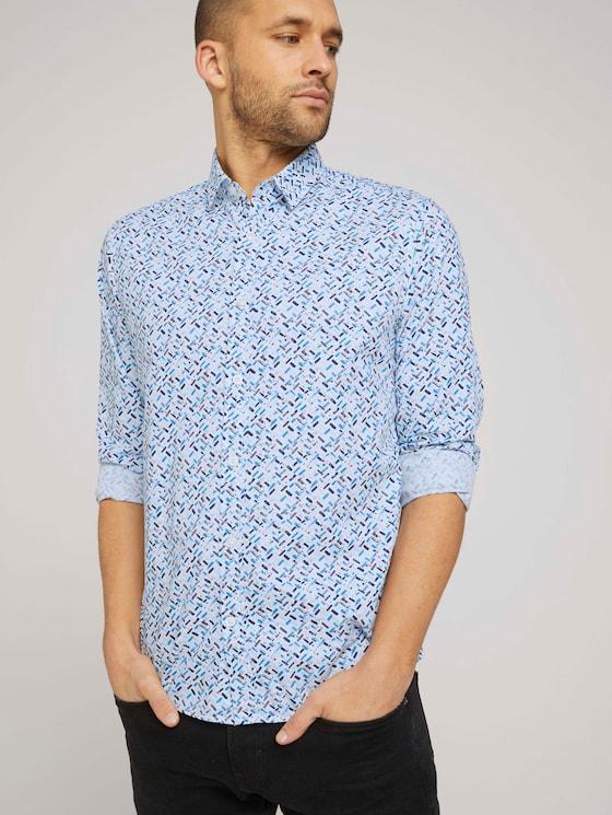 gemustertes Hemd - Männer - white base blue shades design - 5 - TOM TAILOR