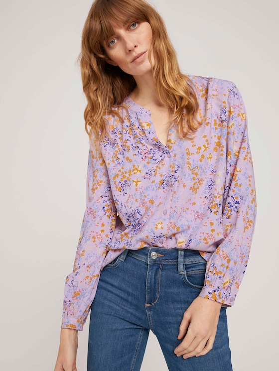 gemusterte Bluse mit Knopfleiste - Frauen - lilac yellow flower design - 5 - TOM TAILOR