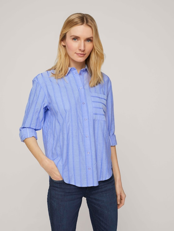 gestreifte Hemdbluse - Frauen - blue dobby stripe - 5 - TOM TAILOR