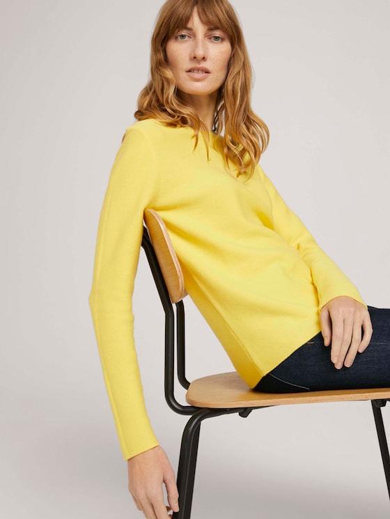 Strukturierter Pullover mit Bio-Baumwolle  - Frauen - smooth yellow - 5 - TOM TAILOR