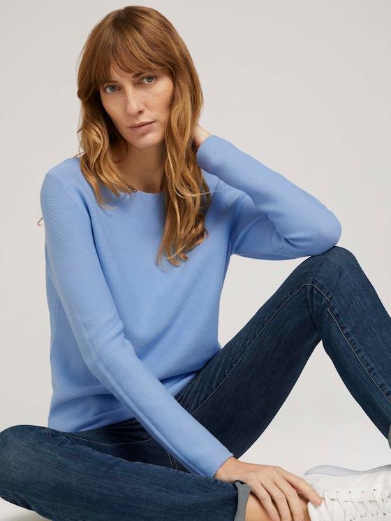 Strukturierter Pullover mit Bio-Baumwolle  - Frauen - stonington blue - 5 - TOM TAILOR