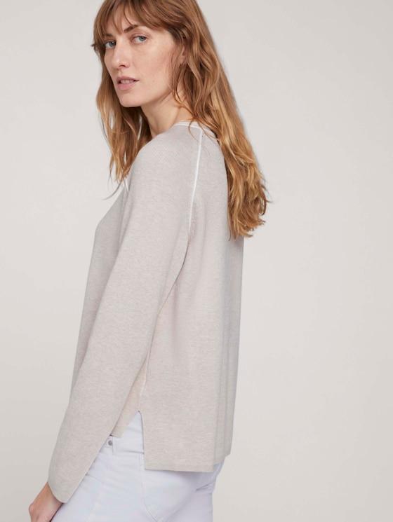 Pullover mit Seitenschlitz - Frauen - beige alfalfa melange - 5 - TOM TAILOR