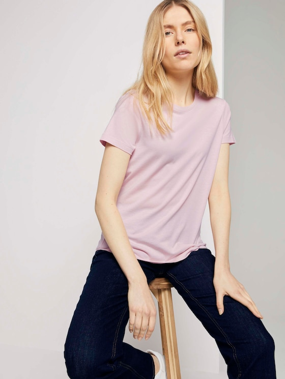 Basic T-Shirt aus Modalgemisch - Frauen - Summer Lotus - 5 - TOM TAILOR