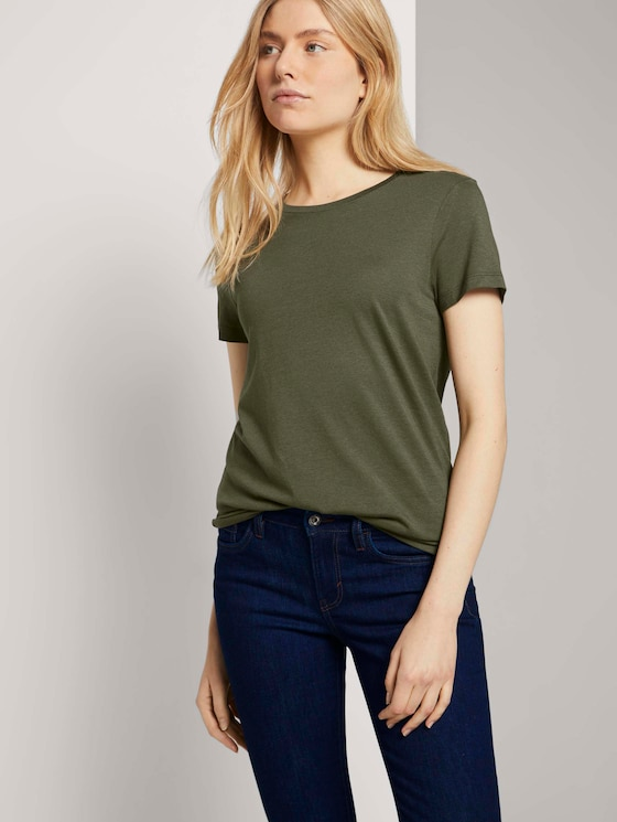 Basic T-Shirt aus Modalgemisch - Frauen - Olive Night Green - 5 - TOM TAILOR
