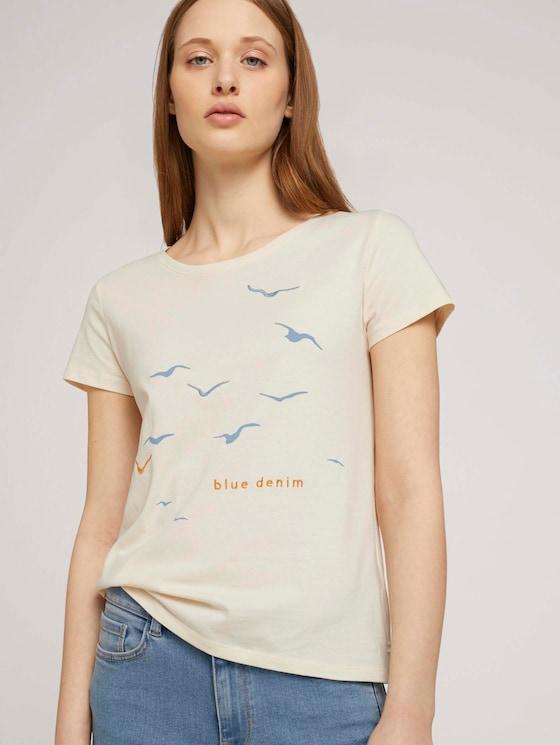 T-Shirt mit Print mit Bio-Baumwolle  - Frauen - soft creme beige - 5 - TOM TAILOR Denim