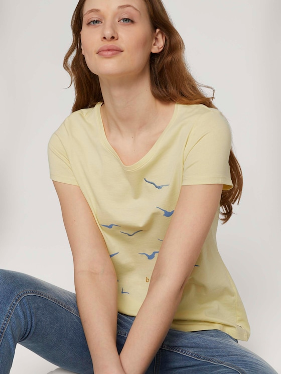 T-Shirt mit Print mit Bio-Baumwolle   - Frauen - soft yellow - 5 - TOM TAILOR Denim