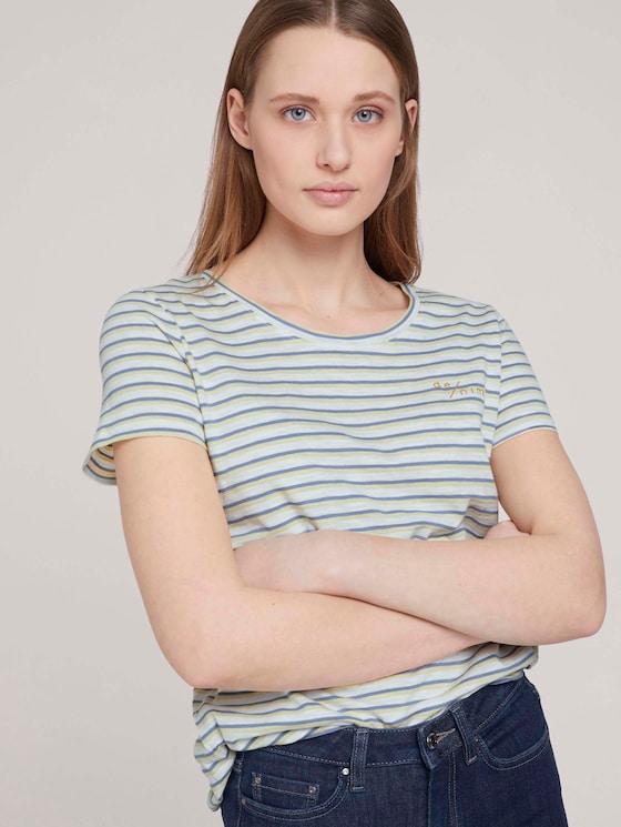 gestreiftes T-Shirtmit Bio-Baumwolle  - Frauen - creme yellow blue stripe - 5 - TOM TAILOR Denim