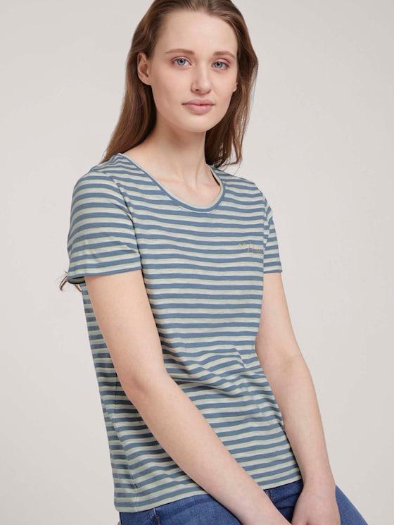 gestreiftes T-Shirtmit Bio-Baumwolle   - Frauen - blue creme yellow stripe - 5 - TOM TAILOR Denim